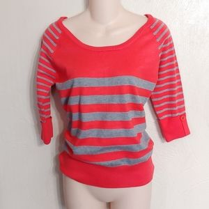 Poof coral & gray 3/4 sleeve striped sweater sz M